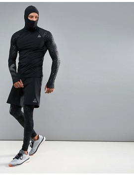 Reebok Training Scuba Hoodie With Hex Reflective Detailing In Black Bq3612 by Reebok