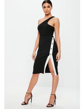 Black Crepe Popper Side Stripe Midi Skirt by Missguided