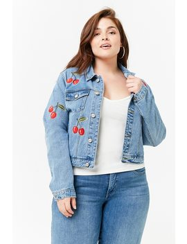 Plus Size Embroidered Cherry Denim Jacket by Forever 21