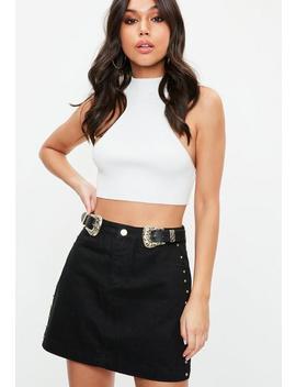 Black Western Buckle Belt Stud Denim Mini Skirt by Missguided