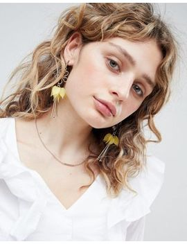 Asos Cut Out Flower And Resin Petal Earrings by Asos Collection