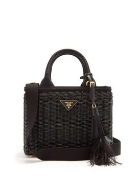 Canvas And Wicker Woven Bag by Prada
