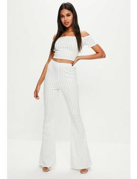 Tall White Pin Stripe Flare Pants by Missguided
