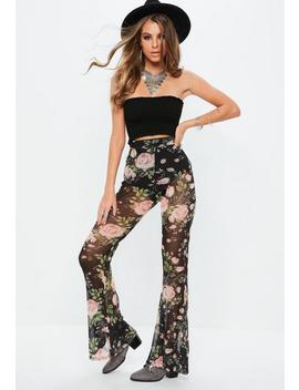 Black Floral Mesh Kick Flared Pants by Missguided