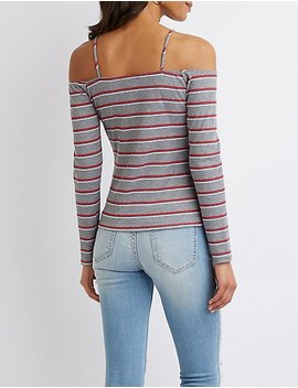 Striped Ribbed Knit Cold Shoulder Top by Charlotte Russe