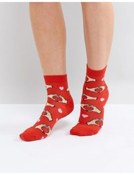 Asos Valentines Heart Hand Ankle Socks by Asos Collection