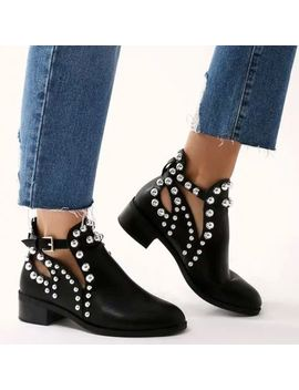 Womens Black Flat Chelsea Ankle Boots Studded Embellished Cut Out Shoes Uk Size by Branded