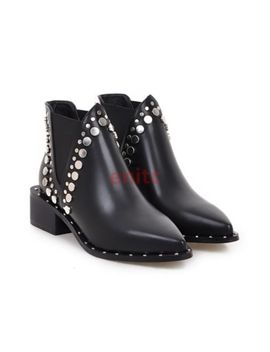 New Rivet Studded Pointy Toe Punk Motorcycle Women Ankle Chelsea Boots Size C 94 by Unbranded