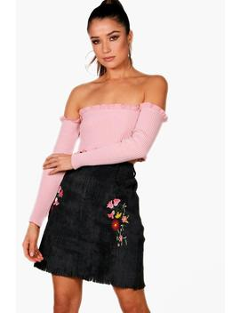 Annabel Cord Embroidered Woven Mini Skirt by Boohoo