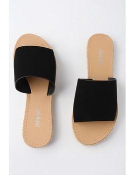 Marnie Black Nubuck Espadrille Slide Sandals by Lulu's