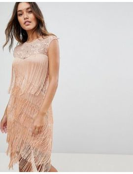 Asos Fringe & Sequin Sheer Midi Dress by Asos Collection