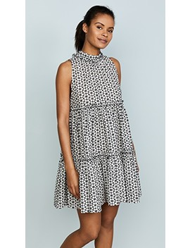 Erica Mini Ruffle White & Black Eyelet Dress by Lisa Marie Fernandez