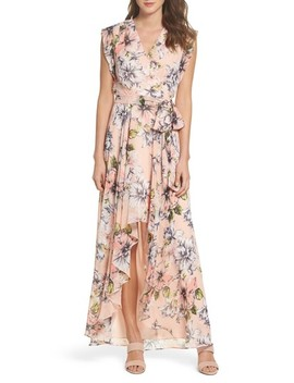 Floral Ruffle High/Low Maxi Dress by Eliza J