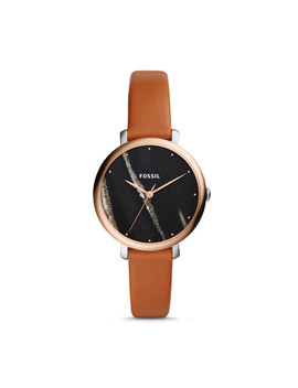 Jacqueline Three Hand Luggage Leather Watch by Fossil