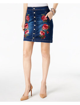 I.N.C. Petite Embroidered Denim Mini Skirt, Created For Macy's by Inc International Concepts