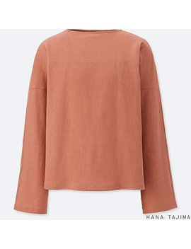 Women Cotton Linen Boxy Long Sleeve T Shirt by Uniqlo