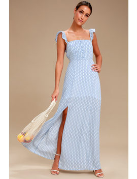 Baby Blues Light Blue And White Polka Dot Maxi Dress by Sage The Label