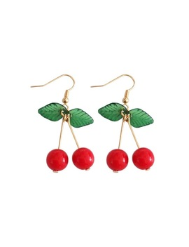 Kshmir Sweet Fruit Fresh Cherry Eardrop Female Fashion Youth Beautiful Girl Students Earrings by Yimeir Store
