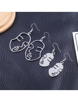 New Design Face Earrings For Women Creative Hollow Exaggerated Abstract Fashion Korean Style Ear Jewelry Oorbellen Brinco Y7 by Fashion New Items Store