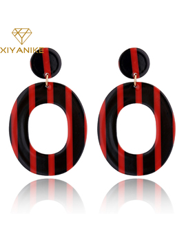 Xiyanike 3 Colors New Women Trendy Ethnic Vintage Oval Stripe Acrylic Statement Drop Earrings For Women Jewelry Accessories E912 by Xiyanike Official Store