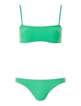 Wavy Ribbed Bandeau Bikini Top And High Leg Bikini Bottoms by Topshop