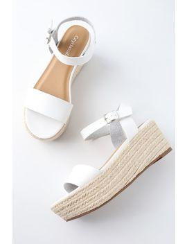 Corsa White Espadrille Flatform Sandals by Lulu's