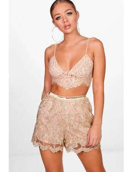 Eleanor All Over Embroidered Shorts by Boohoo