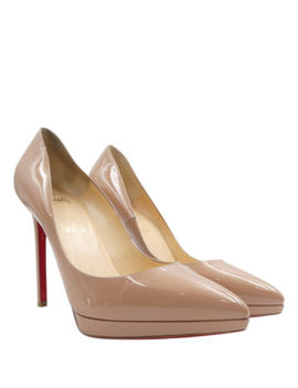 Christian Louboutin Nude Patent Leather Pigalle Plato Sz 40.5/10.5  Heels by C Hristian Louboutin