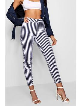 Kirsty High Waist Striped Skinny Jeans by Boohoo