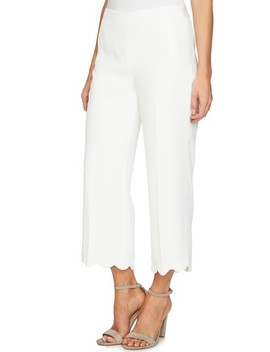 Scalloped Crepe Crop Pants by Cece