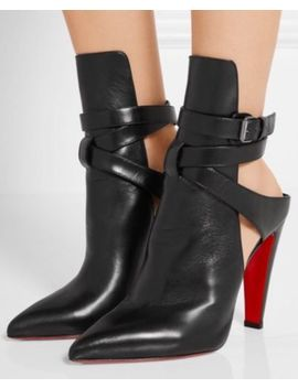 Christian Louboutin Pointipik 100 Nappa Shiny Black 40.5 Strappy Open Back Boots by Christian Louboutin