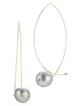 Sea Of Beauty Tahitian Pearl Hoop Earrings by Mizuki
