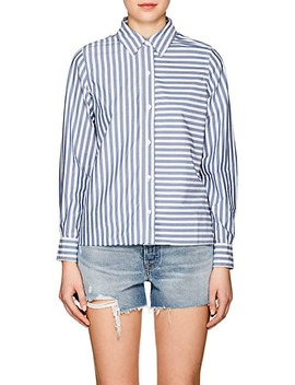 Striped Cotton Open Back Shirt by Current/Elliott