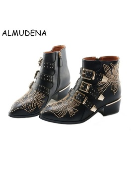 Best Selling Spike Studded Short Ankle Boots Leather Round Toe Triple Buckle Strap Women Motorcycle Boots Shoes Low Heels Shoes by Almudena Online Store