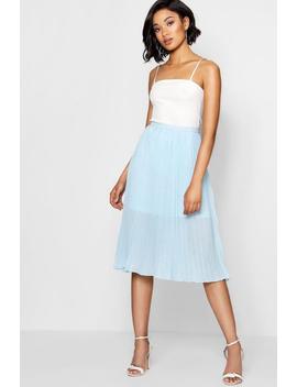 Fran Woven Polka Dot Pleated Midi Skirt by Boohoo