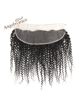 Angel Grace Hair Brazilian Hair Weave 3 Bundles With Closure Kinky Curly Human Hair Bundles With Lace Frontal Closure Remy Hair by Ali Express