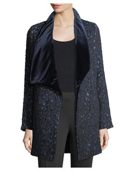 Christina Textured Velvet Collar Open Coat by Elie Tahari