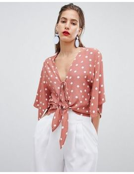River Island Tie Front Polka Dot Crop Blouse by River Island