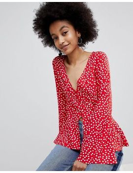 Miss Selfridge Polka Dot Flute Sleeve Blouse by Miss Selfridge