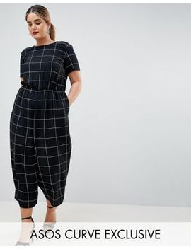 Asos Design Curve Check Print Jumpsuit With Short Sleeve by Asos Design