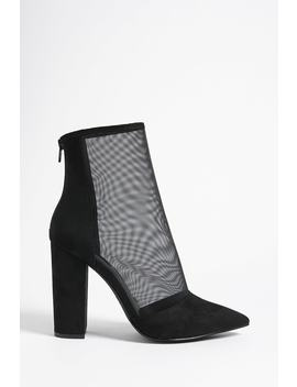 Pointed Mesh Ankle Boots by F21 Contemporary