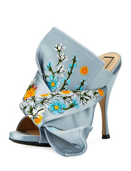 Embroidered Satin Bow Mule Sandal, Blue by No. 21
