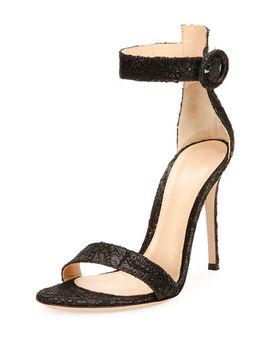 Portofino Brocade Ankle Strap Sandal by Gianvito Rossi