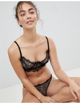 Asos Carmen Eyelash Lace Underwire Bra Set In Including 30 Dd   38 Hh In Black by Asos Brand