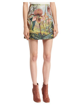 Jungle Print Mini Skirt, Multi by Adam Lippes