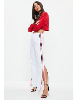 White Zip Through Stripe Wide Leg Pants by Missguided