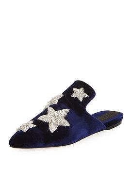 Stelle Metallic Star Velvet Slipper, Blue Marine by Sanayi313