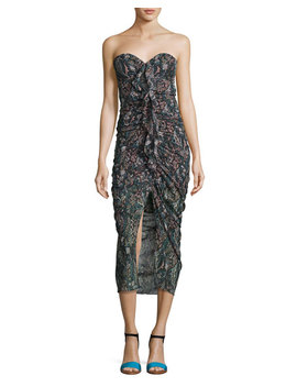 Peyton Strapless Ruched Silk Cocktail Dress, Multi by Veronica Beard