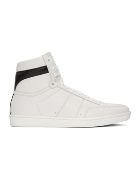 White Court Classic Sl10 High Top Sneakers by Saint Laurent