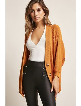 Distressed Button Front Cardigan by Forever 21